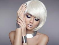 Glitter makeup. Bob hair. Beauty Portrait of blond model with sh stock photo