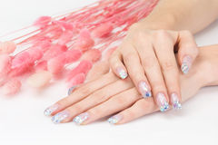 Glitter manicure and pink decoration Stock Images