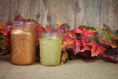 Glitter mason jars. Fall decor handmade crafts.  Two mason jars with copper and gold glitter and fall foliage background Royalty Free Stock Images
