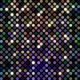 Glitter mosaic disco background. Golden lights. Blue purple green yellow sparks pattern. royalty free illustration