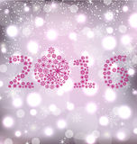 Glitter New Year Card with Snowflakes Royalty Free Stock Images
