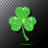 Glitter object. Clover for patrick s day design. Isolated . Green texture background.   Stock Images