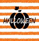 Glitter Orange Wallpaper for Happy Halloween with Pumpkin Stock Image
