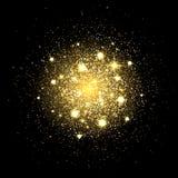 Glitter particles background. Gold glitter powder explosion. Star dust on black backdrop. Golden particles splash or shimmer burst vector illustration