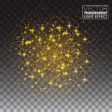 Glitter particles effect. Gold glittering Space star Stock Photos