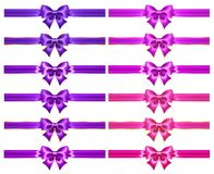 Glitter purple and pink bows with golden border and ribbons royalty free stock photos