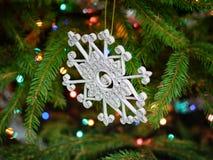 Glitter quilled snowflake - handmade Christmas ornament Stock Photo