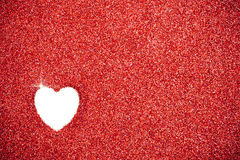 Glitter: Red Glitter With Heart Drawn Background Stock Photo