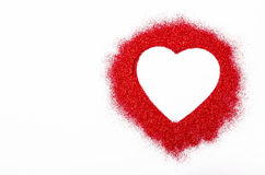 Glitter red heart with empty space for your text or message. Stock Images
