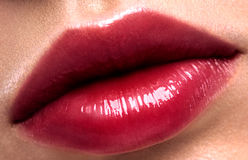 Glitter red lips Stock Images