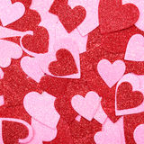 Glitter Red and Pink Hearts. Background. Royalty Free Stock Images