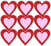 Glitter Red and Pink Hearts isolated. Background Stock Photo