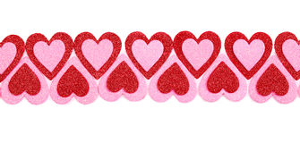Glitter Red and Pink Hearts isolated. Valentines Day. Stock Photos