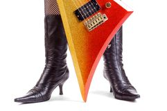 Glitter Rock Guitar Stock Photo