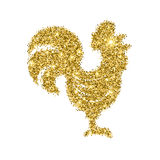 Glitter rooster with sparkles isolated on white. Royalty Free Stock Photography