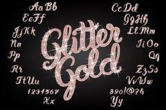 Glitter rose Gold Handwritten alphabet. Handwritten Glitter rose Gold alphabet vector font. Hand drawn brush script letters on black background. Stock vector Royalty Free Stock Images