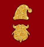 Glitter Santa's Hat and Beard. Illustration Glitter Santa's Hat and Beard, Template for Christmas Design, Winter Traditional Element Golden Dust Surface - Vector Royalty Free Stock Image