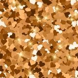 Glitter seamless texture. Actual red gold particles. Endless pattern made of sparkling hearts. Tempt. Ing abstract vector illustration vector illustration