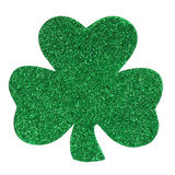 Glitter Shamrock Clover isolated on white. St. Patrick's Day. Royalty Free Stock Photography
