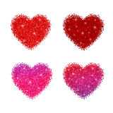 Glitter shiny hearts with sparkles. Vector illustration isolated on white background Royalty Free Stock Image