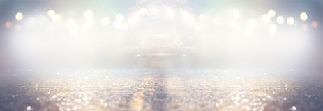 Glitter silver and gild lights background. de-focused.  stock photography