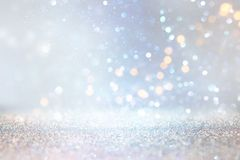 Glitter silver and gild lights background. de-focused.  stock photos