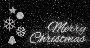 Glitter silver inscription Merry Christmas Stock Photo