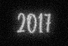 Glitter silver textured inscription 2017. Of sprinkled confetti. Numeral design element for banner, greeting card, Christmas and New Year card, invitation Royalty Free Stock Photos