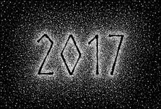 Glitter silver textured inscription 2017. Of sprinkled confetti. Numeral design element for banner, greeting card, Christmas and New Year card, invitation Stock Images