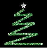 Glitter simple Christmas tree. In  format Royalty Free Stock Photo
