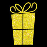 Glitter simple gift box with bow Stock Photography