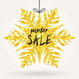 Glitter snowflake announce Winter Sale. Big shiny glitter snowflake with words Winter Sale. Vector design for banners, vouchers, gift cards, banners Stock Photos