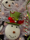 Glitter Snowmen ornaments Stock Photos