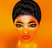 Glitter and sparkles on woman`s face. Glitter and sparkles help create this Modern Digital Art Close up face of 3d digital art model with fashion makeup. A Stock Image