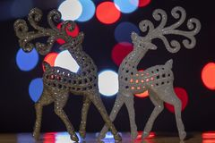 Glitter Sparkling Reindeer Pair with Bokeh stock photos