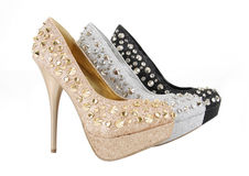 Glitter spiked shoes Royalty Free Stock Image