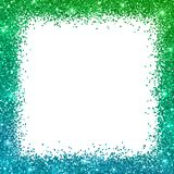 Glitter square border frame with blue green color effect. Vector Stock Photography