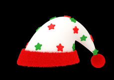 Glitter star Santa Claus hat with clipping path. A new design of Santa hat made form cloth and fur with  glitter star , clipping path included Stock Photography