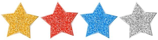 Glitter star set isolated vector