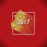Glitter stroke 2017. Happy New Year Gold Vector Design with Glitter Stroke Brush on a Red Background. Golden Glitter New Year Poster. Background for Flyer Royalty Free Stock Photography