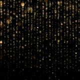 Glitter threads of curtain backdrop on black. Christmas and New Year effect. Gold particles lines rain. Fashion strass. Drops with shiny sequins. Sparkling of vector illustration