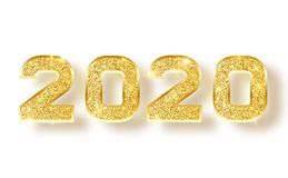 2020 glitter typography design. Gold sparkling Numbers Design of greeting card of Happy new year design. Gold Shining stock illustration