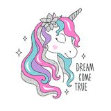 Glitter unicorn with flower for t-shirts. Design for kids. Fashion illustration drawing in modern style for clothes. Girlish print. Glitter, unicorn stock illustration