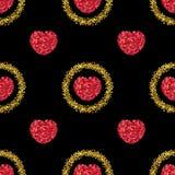 Glitter verde Coração dos confetes vermelhos Teste padrão do coração Sparkles do ouro Imagem de Stock