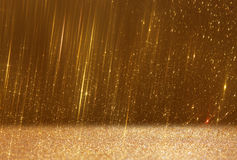 Glitter vintage lights background. abstract gild background. defocused Stock Photo