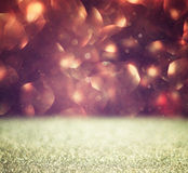 Glitter vintage lights background. brown and gold. defocused Royalty Free Stock Images