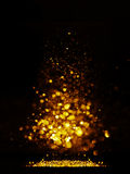 Glitter vintage lights background. dark gold and black. Christmas card Royalty Free Stock Image