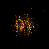 Glitter vintage lights background. dark gold and black. Christmas card Stock Photos