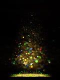 Glitter vintage lights background. dark gold and black. Christmas card Stock Images
