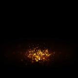 Glitter vintage lights background. dark gold and black. Christmas card Stock Photo